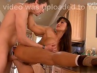Famous coquette Lisa Ann fucking her young sexy boyfriend in the kitchen