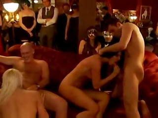 VIP swingers party in the cozy club with young girlfriends and hot wives