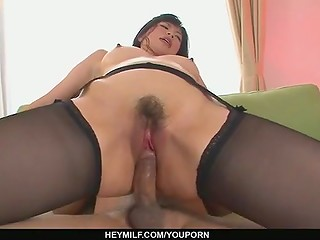 Asian cutie Saki Aoyama sucking her friend's tasty dick and getting cum in pussy