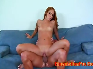 Green-eyed redhead babe goes wild sucking and fucking this stiff big penis