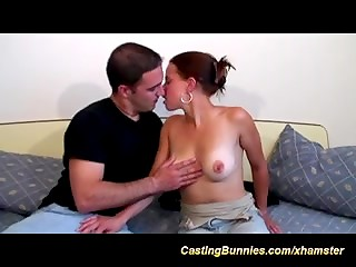 Pretty amateur girl gets her first anal experience in the casting by a stranger