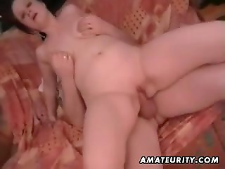 Busty housewife with shaved beaver has released all her inner passion on the husband's cock