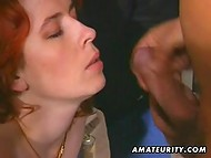 Lucky husband fucks his red-haired slut with natural breasts in the wife's garage