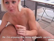Czech blonde MILF bares her a little bit saggy boobs and gets drilled in the casting