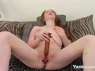 Pretty girlfriend with natural tits uses a hot vibrator stimulating her shaved pussy