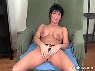 Short-haired Kassandra masturbates her precious vagina reaching pleasure in no time