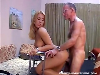 Old senior fucks young pretty nurse
