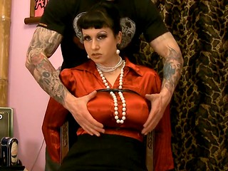 Dangerously hot brunette MILF with giant tits gets tied up and stimulated by excited man