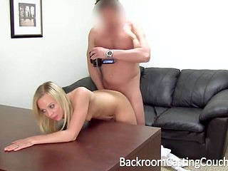 Young blonde came in the casting and was forced to get fake agent's dick in the asshole