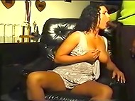 Curly brunette Michelle Raven presents marvelous blowjob to the black-skinned pal