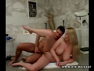 Long-haired blonde beauty having sex in the bathroom with an energetic man