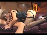 Beautiful blonde in sexy stockings needs her hot clit to be licked before hot fucking