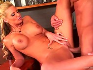 Busty pornstar Phoenix Marie with yummy pussy having sex with muscular bartender