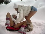 Hot lesbians are not afraid of catching cold caressing and stimulating their pussies outside