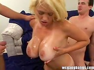 Blonde bitch with huge breasts gets wildly pounded by the three strong wieners 11
