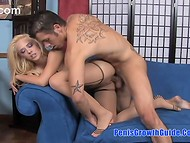 Blue-eyed pornstar in stockings Kagney Linn Karter satisfied her man's lust using sexy feet