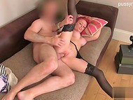Outstanding redhead babe with perfect fake tits, pierced nipples and tasty vagina came in casting to surprise the agent  8