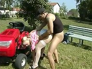 Lawnmower man banged blonde Frenchwoman in white stockings on a green lawn in the free porn video