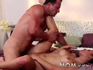 Mommy loves when strong man fucks her with his big cock and licks her pussy