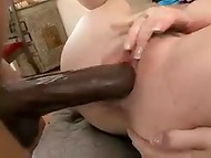 Huge penis of chocolate-skinned buddy banged hard his redhead cheat's throat