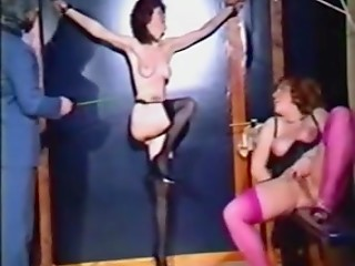 Brave ladies in black stockings decided to come into basement to receive thrills