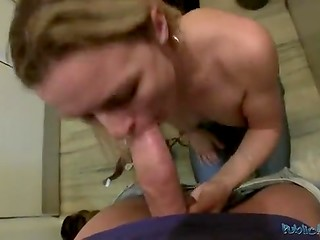European cheat with natural tits presented the rich fellow a first-class blowjob in the dressing room