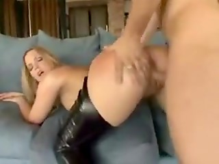 Cute blonde dame with big tasty butt makes her lucky sex partner happy in hot sex video