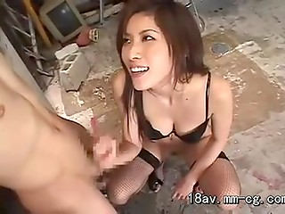 Playful Asian slut with unshaved pussy expectorates on the penis of her bald guy and presents him awesome handjob