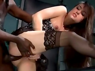 Famous pornstar Sasha Grey gave her Ebony partner upside down blowjob and was anally fucked