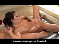 Asa Akira decided to surprise her guest by taking a shower with him and show him what she can do with her mouth
