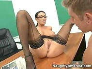 Busty teacher in black stockings gets tired by the lack of intimate caress and wildly fucked her young student 3