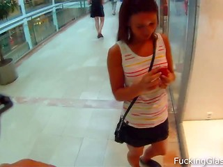 Guy recorded hot pounding of the beautiful young babe in the mall on the spy cam hidden in the glasses