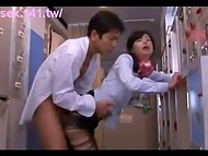 Perfect Japanese stewardess spread her legs in front of the lecherous passenger