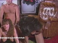 Busty black-skinned temptress fighting for attention of her white buddy in the international group sex action