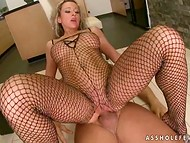 Lucky man came in the kitchen to quench his sexual thirst with busty hottie in bodystocking 10