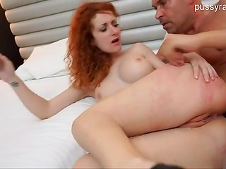 Redhead prostitute made her bald neighbor angry and got a pleasant punishment for it
