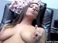Sexy office girl with slender body gets her shaved pussy banged at the workplace