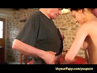 Dark-haired waitress was sucking and fucking two old guys with small cocks 8