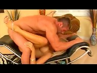 Busty blonde has sex with muscular guy getting a dose of wonderful sexual pleasure