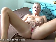 Blonde's small vibrating sex toy helps her to reach multiple orgasms in no time
