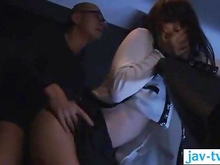 Pretty Japanese girl gets pounded by the lustful guy with glasses in the cinema