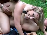 Very hot coquette with tight asshole was hammered outdoors by two rough fellows  10
