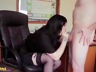 Naked buddy finished on the yummy breasts of the young blue-eyed secretary in the office