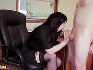 Naked buddy finished on the yummy breasts of the young blue-eyed secretary in the office 7