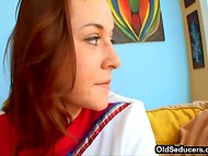 Cute red-haired student with natural tits seduced her college coach on the yellow sofa 4