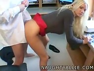 Busty blonde secretary with appetizing breasts gets banged by her boss in the office