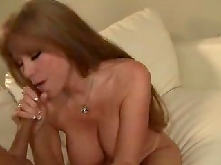 Noble woman receives a portion of fresh cum in the mouth after an awesome fucking