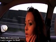 Adorable babe agreed to stop the car and warm her holes up after a very long journey  4