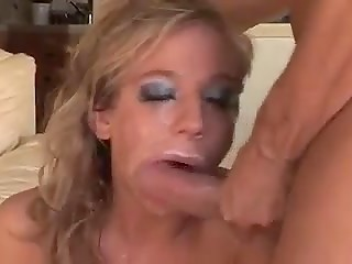 Guys finished on the face of their common blonde girlfriend after pounding her anal tunnel