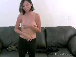 Asian chick came on the casting and gave just a blowjob, which ends with a cumshot on her breasts